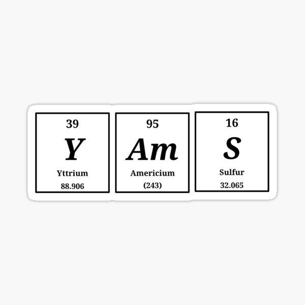 Periodic yams Sticker