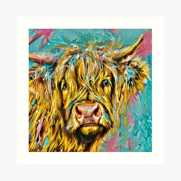 Highland Cow Digital Artwork Art Print