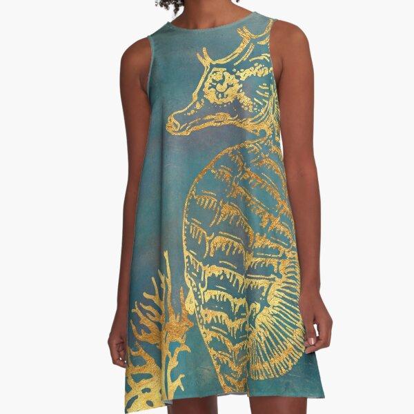 Deep Sea Life V Golden Seahorse, ocean texture A-Line Dress
