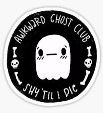 Awkward Ghost Club Black Sticker