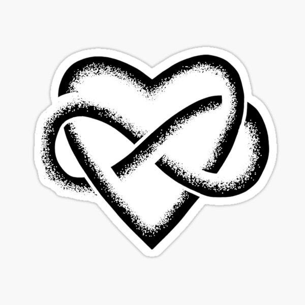 Black Infinity Heart Stipple Art (white) Sticker