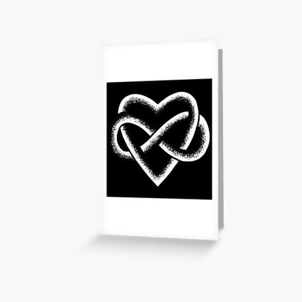 White Infinity Heart Stipple Art (black) Greeting Card