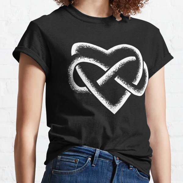 White Infinity Heart Stipple Art (black) Classic T-Shirt