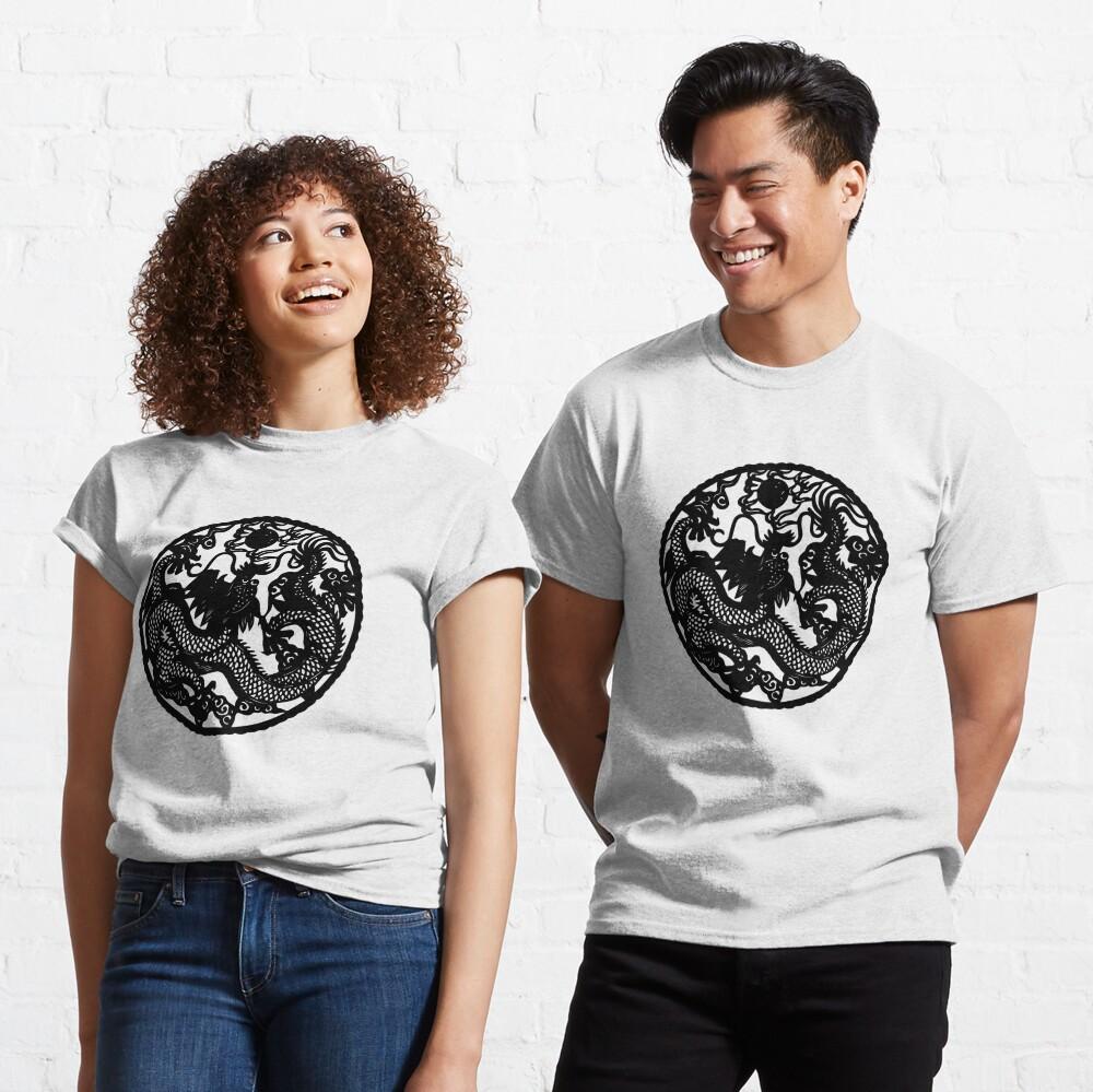 Chinese Retro Paper Cut Dragon Classic T-Shirt