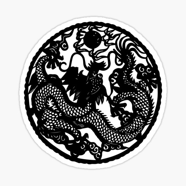 Chinese Retro Paper Cut Dragon Sticker