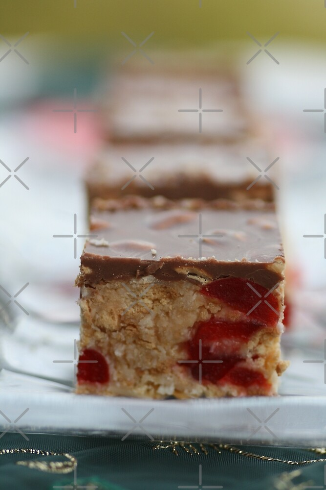 Cherry & Toasted Almond Slice. by Joy Watson