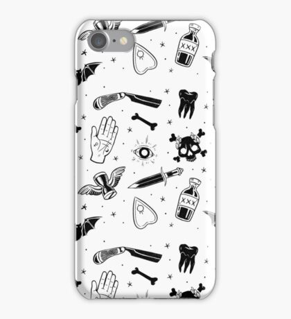A Few of My Macabre Things (on white) iPhone Case/Skin