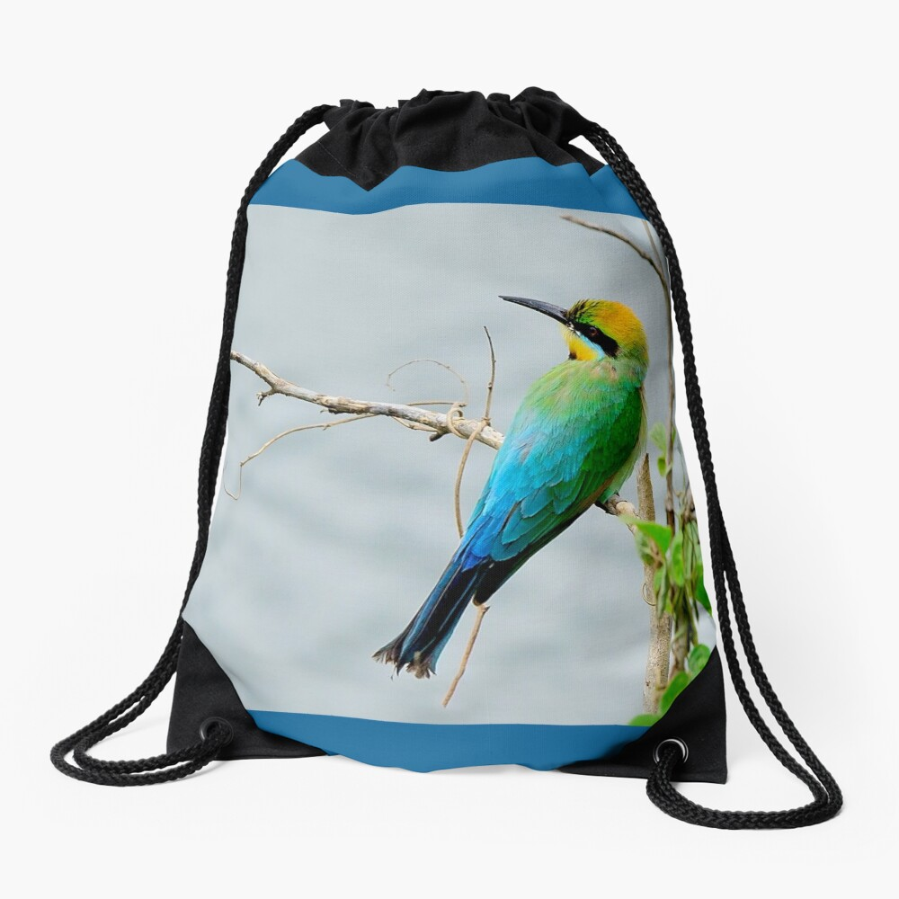 Rainbow Bee-eater 'Patiently Waiting' Drawstring Bag