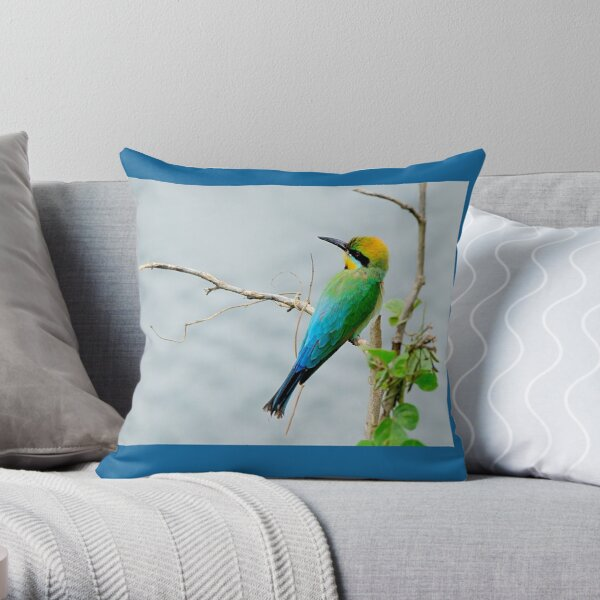 Rainbow Bee-eater 'Patiently Waiting' Throw Pillow