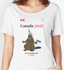 Canada 150, Canada 2017 & Canada Day Shirts & Souvenirs - Canadian Hockey, Curling, July 1 Party, Cool and Heritage Beaver Shirt Selection! Women's Relaxed Fit T-Shirt