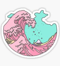 Japanese pastel kawaii Kanagawa anime meme surf beach wave Sticker
