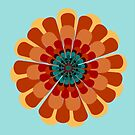 Terracotta & Teal Flower by Valerie  Fuqua