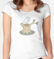 ghost bird and tree trunk Women's Fitted Scoop T-Shirt