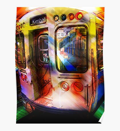 kimball train, brown line, chicago Poster