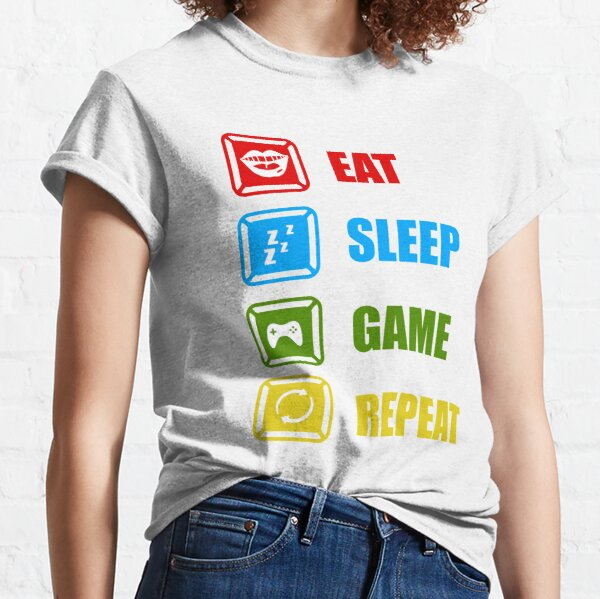 Gamer gift, eat sleep game repeat, game lover, gaming, youtube gamer, funny gaming, gift for game lover, video games Classic T-Shirt