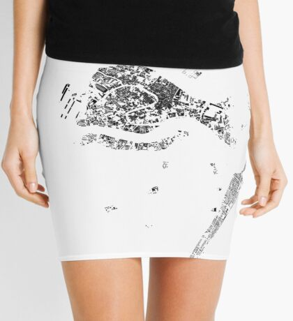 Venice Map Schwarzplan Only Buildings Urban Plan Mini Skirt