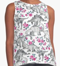 Dinosaurs and Roses – white Contrast Tank