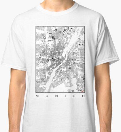 Munich Map Schwarzplan Only Buildings Urban Plan Classic T-Shirt