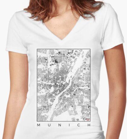 Munich Map Schwarzplan Only Buildings Urban Plan Women's Fitted V-Neck T-Shirt