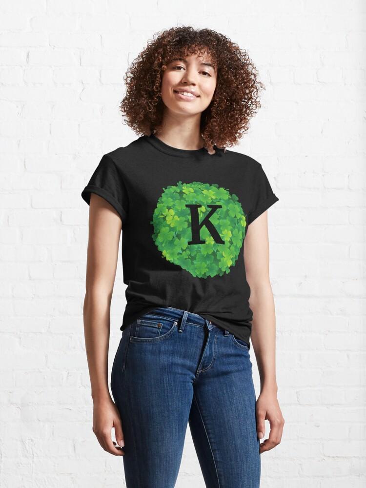 Alternate view of K initial on shamrocks Classic T-Shirt