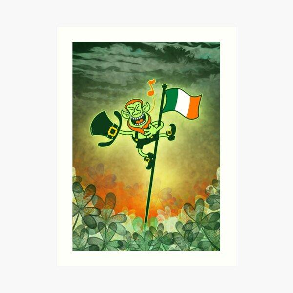 Green Leprechaun Singing on a Flag Pole Art Print