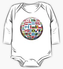 World, Flags of the Globe, Flags, Globe, Peace, Global One Piece - Long Sleeve