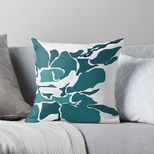 Orchards 2 in Teal Throw Pillow