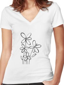 Black & White Flowers Women's Fitted V-Neck T-Shirt