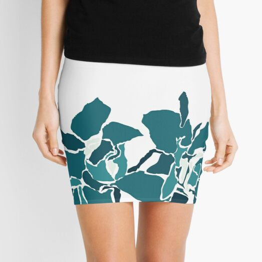 Orchards 2S in Teal  Mini Skirt