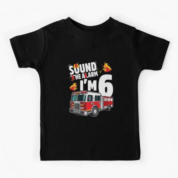 Kids Fire Truck 6th Birthday Boy Firefighter 6 Year Old T-Shirt Kids T-Shirt