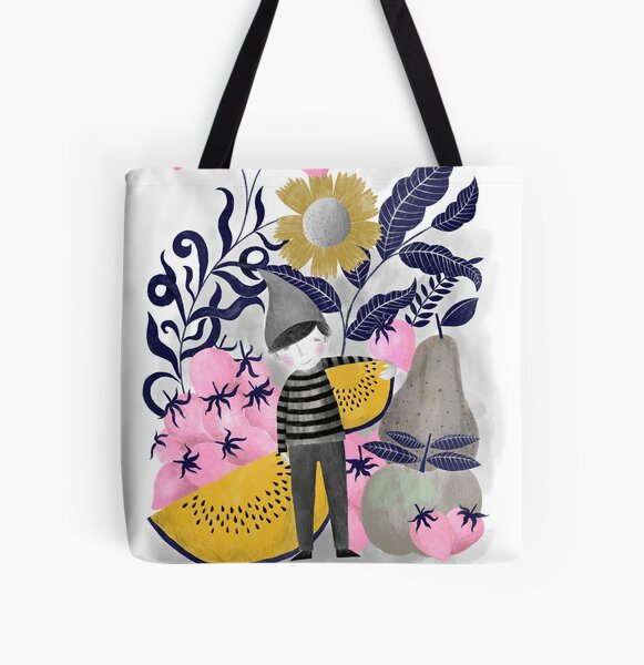fruit gnome illustration in pink and yellow All Over Print Tote Bag