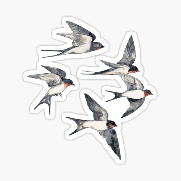 Blue Sky Swallow Flight Sticker