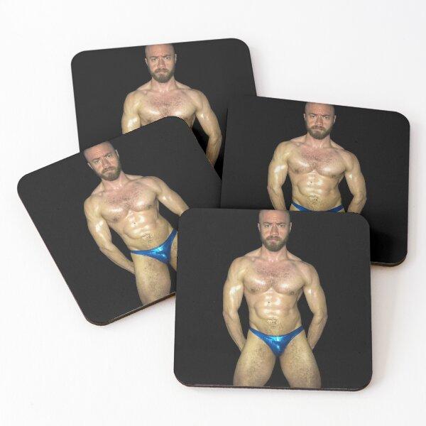 Blue Thonged & Oiled Coasters (Set of 4)