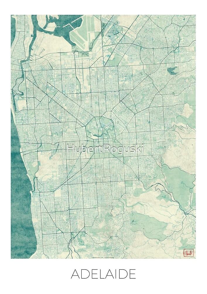Adelaide Map Blue Vintage by HubertRoguski
