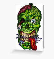 Zombie Skull Brains Greeting Card