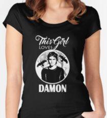This Girl Loves Damon. 2. TVD. Women's Fitted Scoop T-Shirt