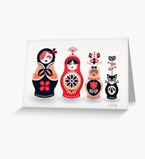 Russian Nesting Dolls – Hot Pink Greeting Card