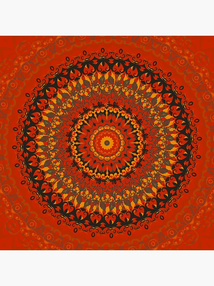 Autumn Leaves Rust Mandala by InspiraImage