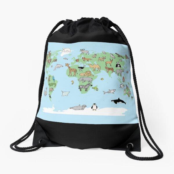 Animal Worldmap Drawstring Bag