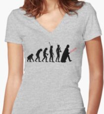 It's Evolution Baby! Women's Fitted V-Neck T-Shirt