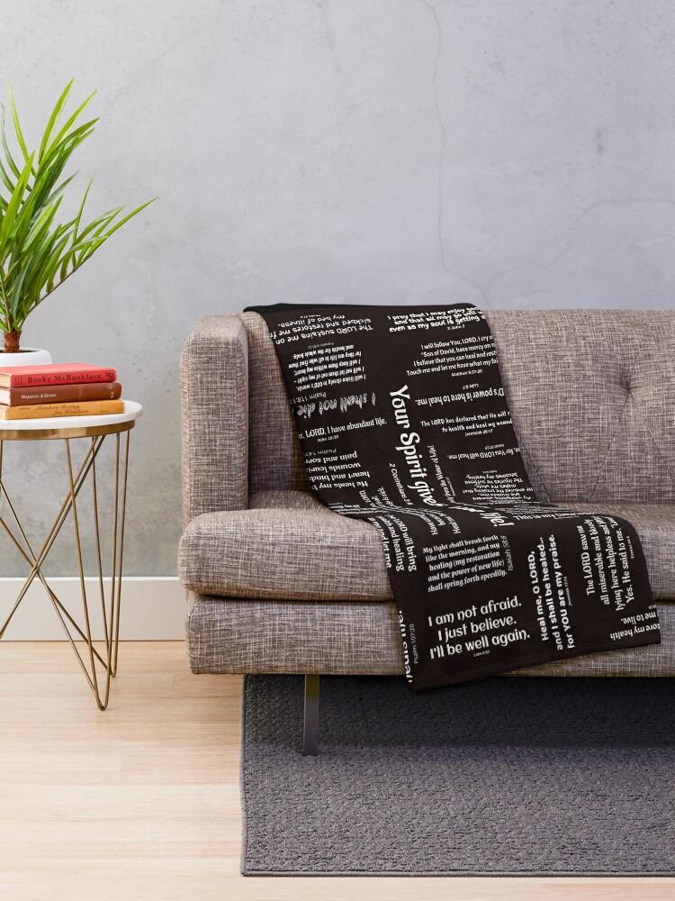 Alternate view of Healing Scriptures Blanket - Black Throw Blanket
