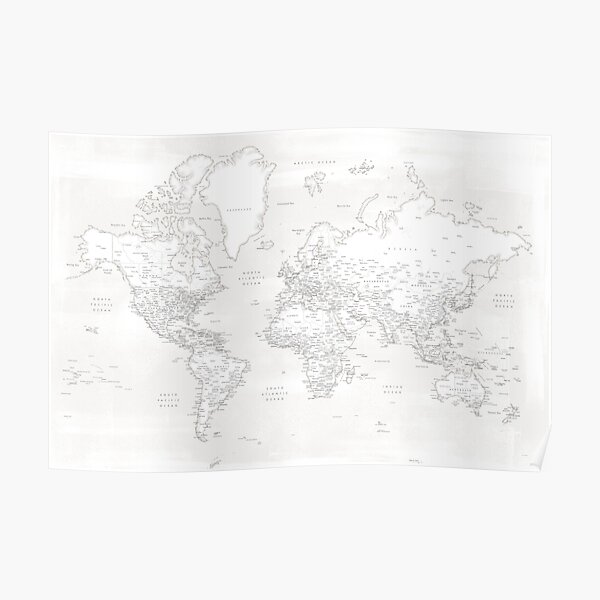 Barely there white and grey detailed world map, Maeli White Poster