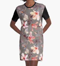 Coral Hibiscus Graphic T-Shirt Dress