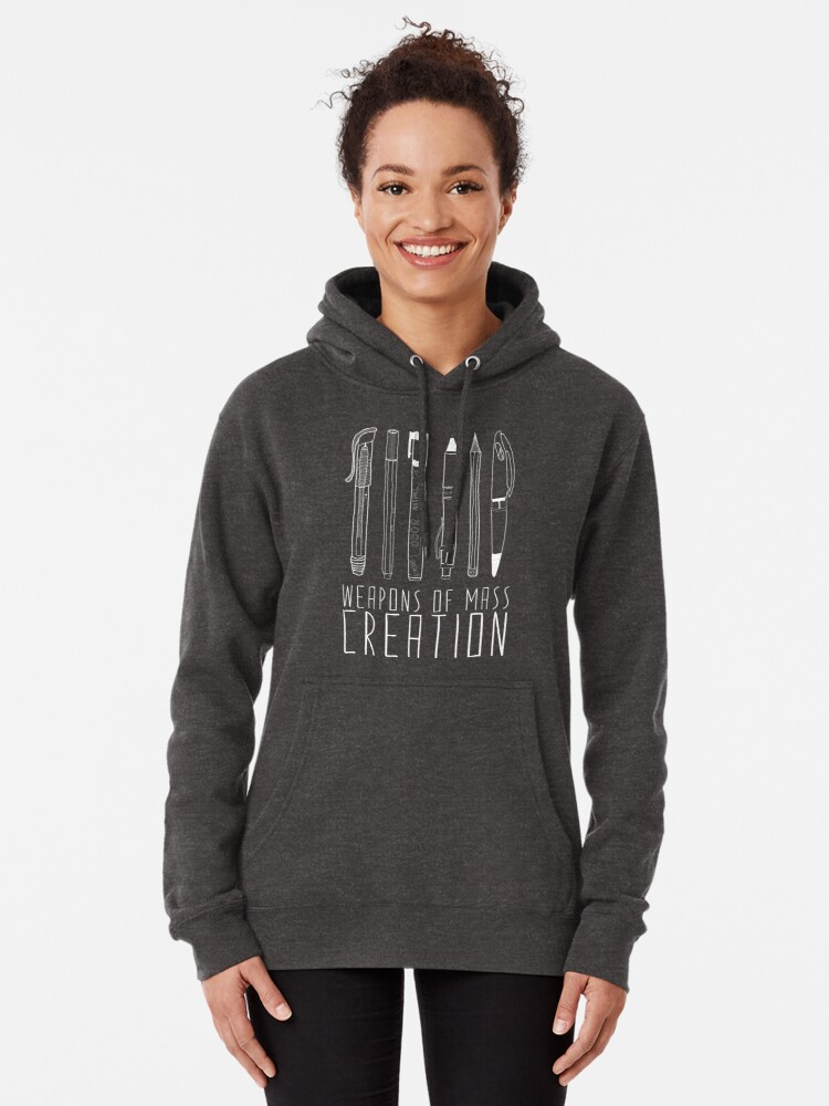 Alternate view of Weapons Of Mass Creation (on grey) Pullover Hoodie