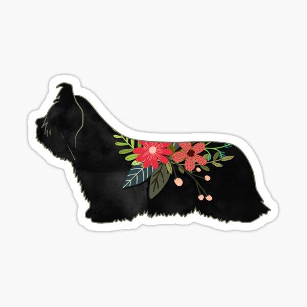 Skye Terrier Dog Breed Boho Floral Silhouette Sticker