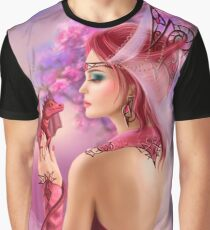 Beautiful fantasy woman queen and red dragon sakura background Graphic T-Shirt