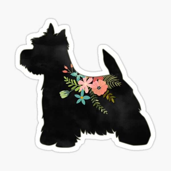 Westie Terrier Dog Breed Boho Floral Silhouette Sticker