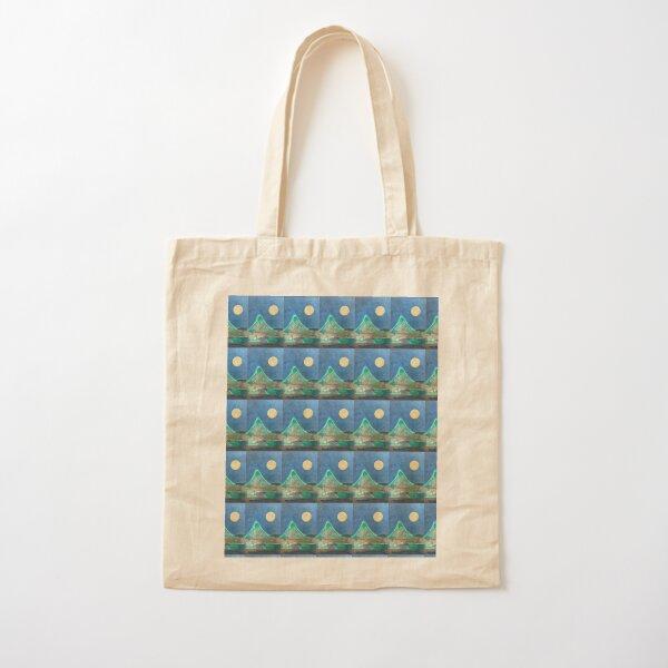 Harvest Moon, landscape, mountain art print Cotton Tote Bag