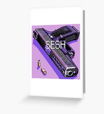 pistol and bullets Greeting Card