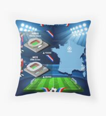 Paris Nice Stadium Infographics Throw Pillow